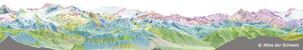 Alpenpanorama mit geologischen Schichten
