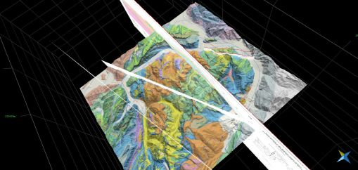 Virtuelle 3D Geologie von oben mit geol. Profilen
